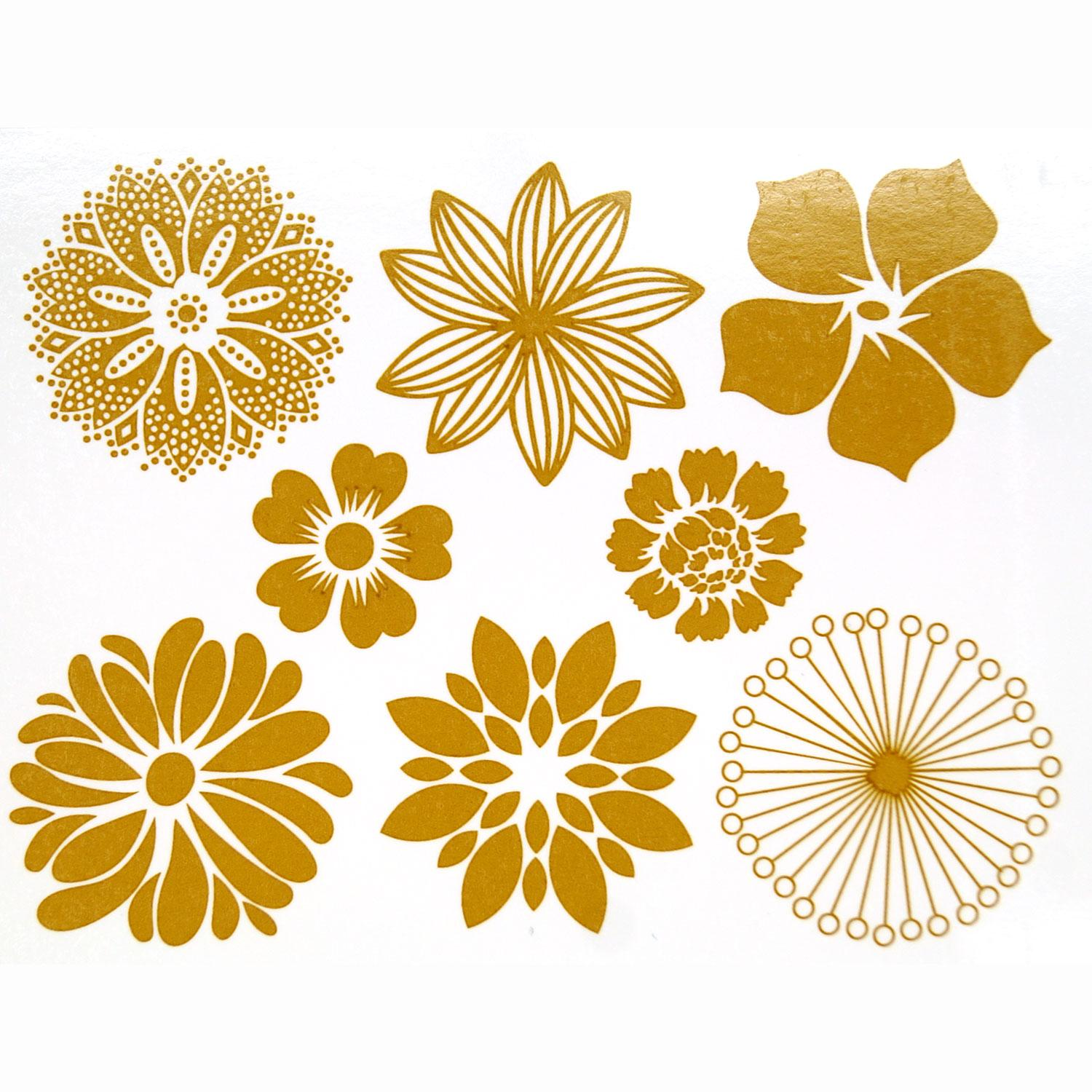 Gold Large Flower Decals