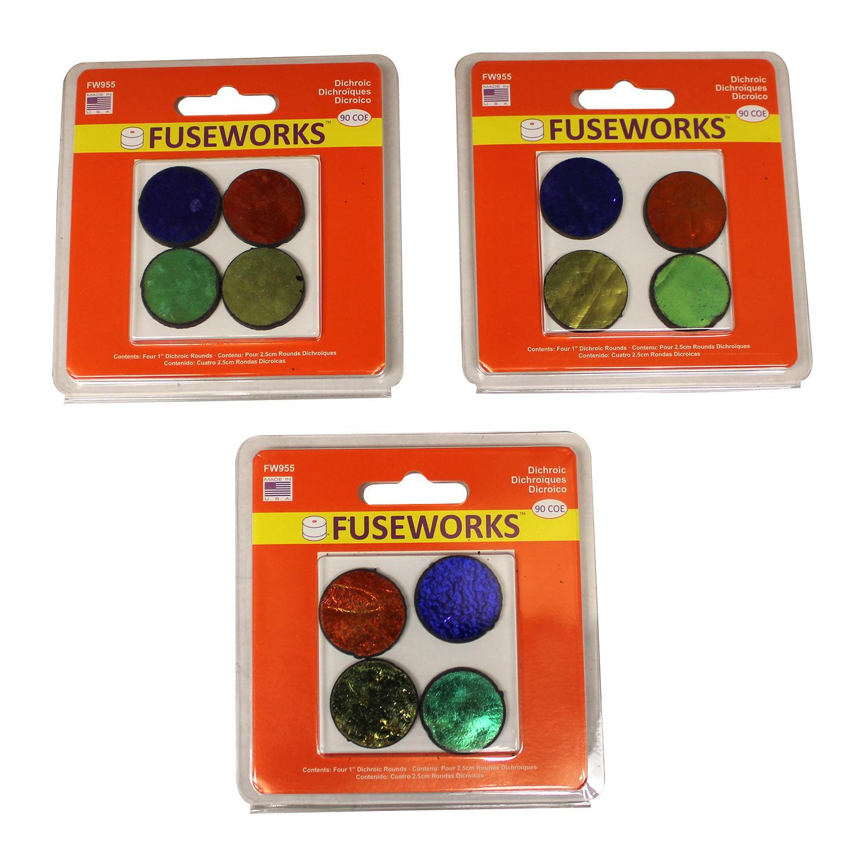 Fuseworks Dichroic Pre-Cut Circles, 12 Pack - 90 COE