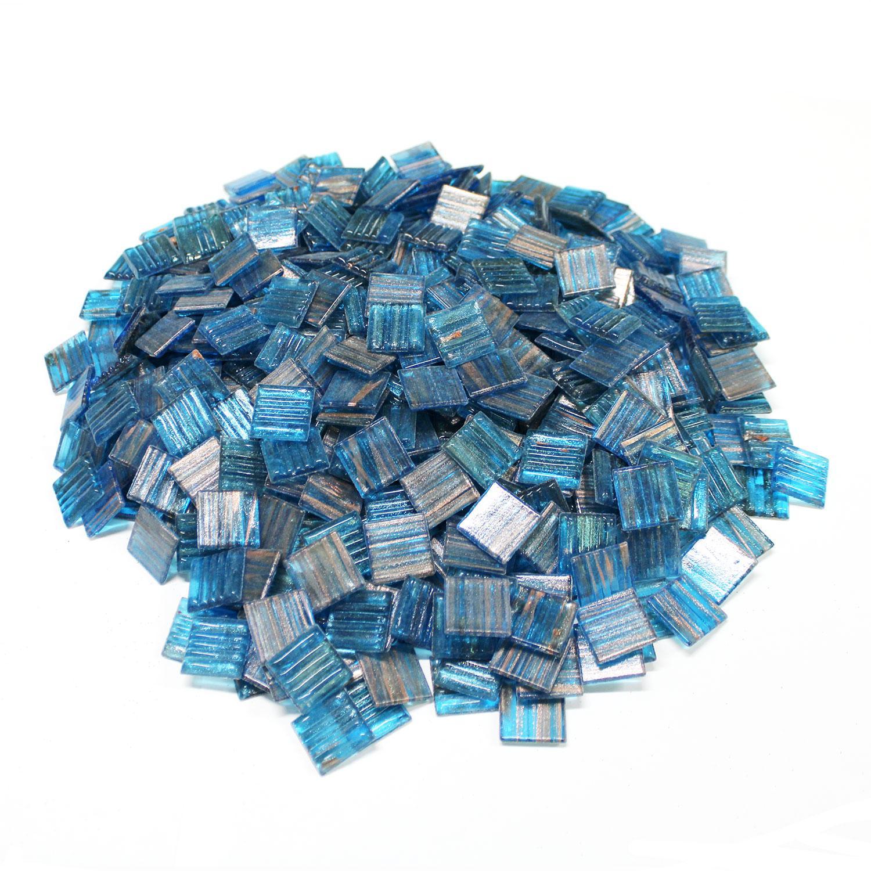 3/4 Turquoise Metallic Venetian Glass Tiles - 3 Lb