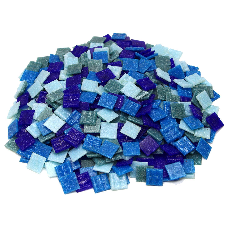 3/8 Denim Venetian Glass Tile Mix - 3 Lb