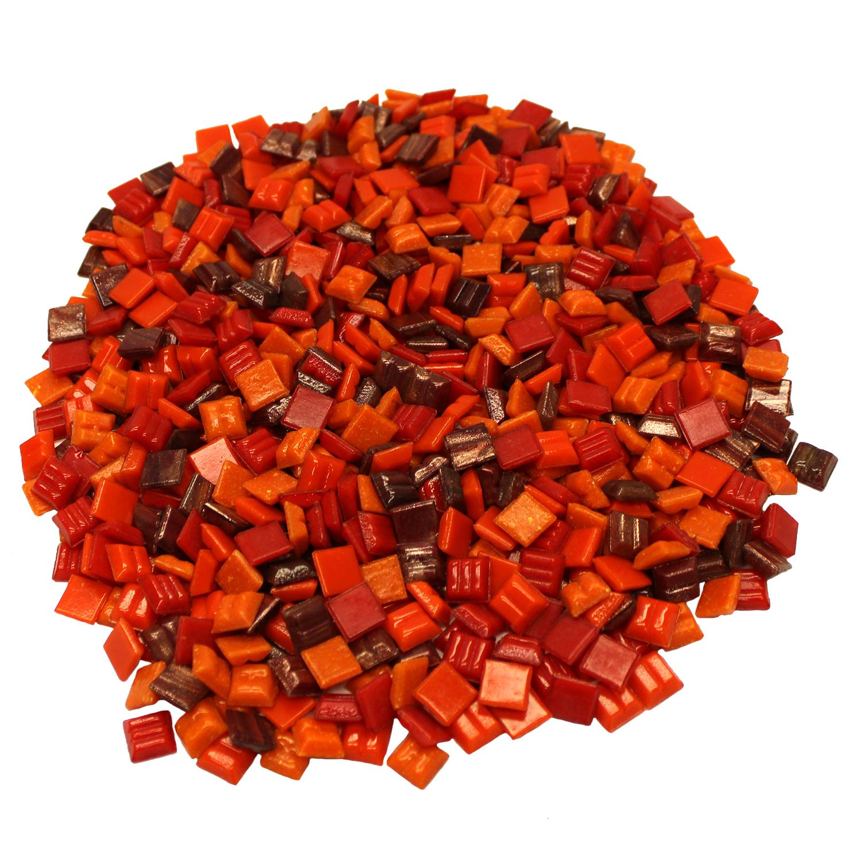 3/8 Fire Tones Venetian Glass Tile Mix - 1 Lb