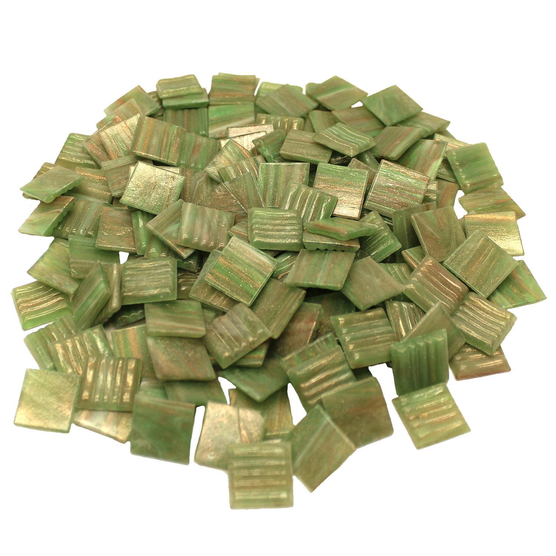 3/4 Lime Metallic Venetian Glass Tiles - 1 Lb