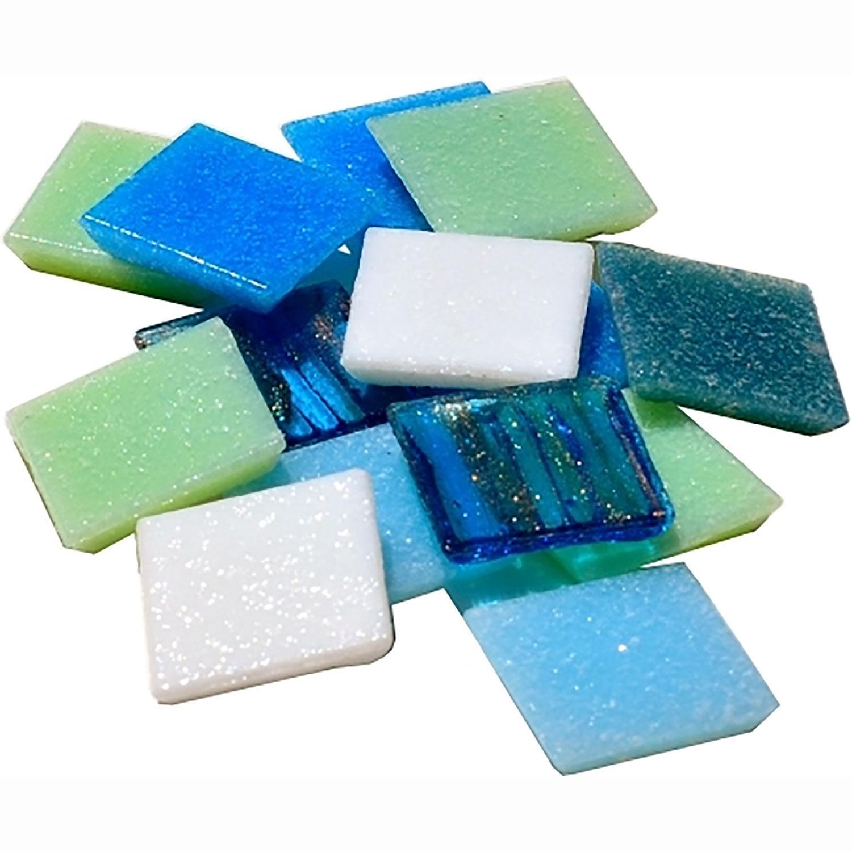 3/4 Blue Horizons Venetian Glass Tile Mix - 2.5 Lbs