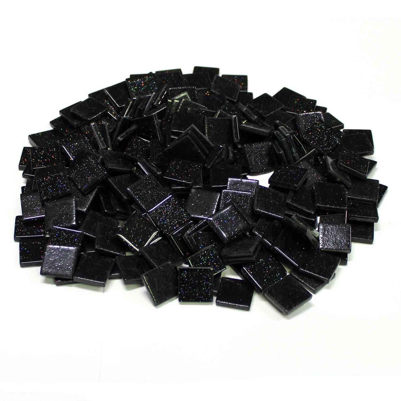 3/4 Black Glitter Venetian Tiles - 2.2 Lb