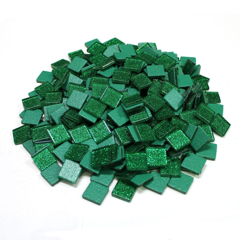 3/4 Green Glitter Venetian Tiles - 2.2 Lb