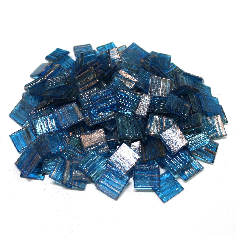 3/4 Turquoise Venetian Glass Tile - 1 Lb