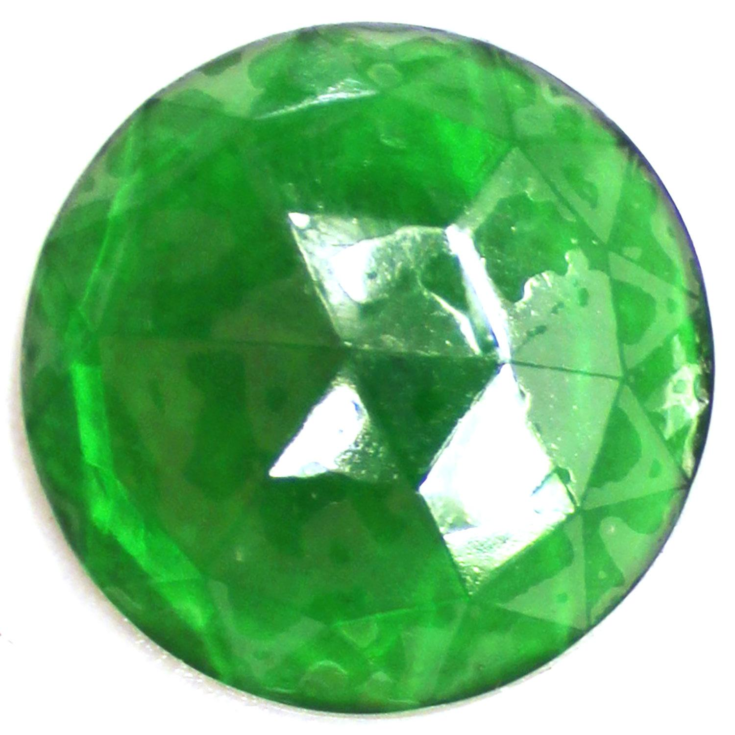 Green Round 25mm Faceted Jewel