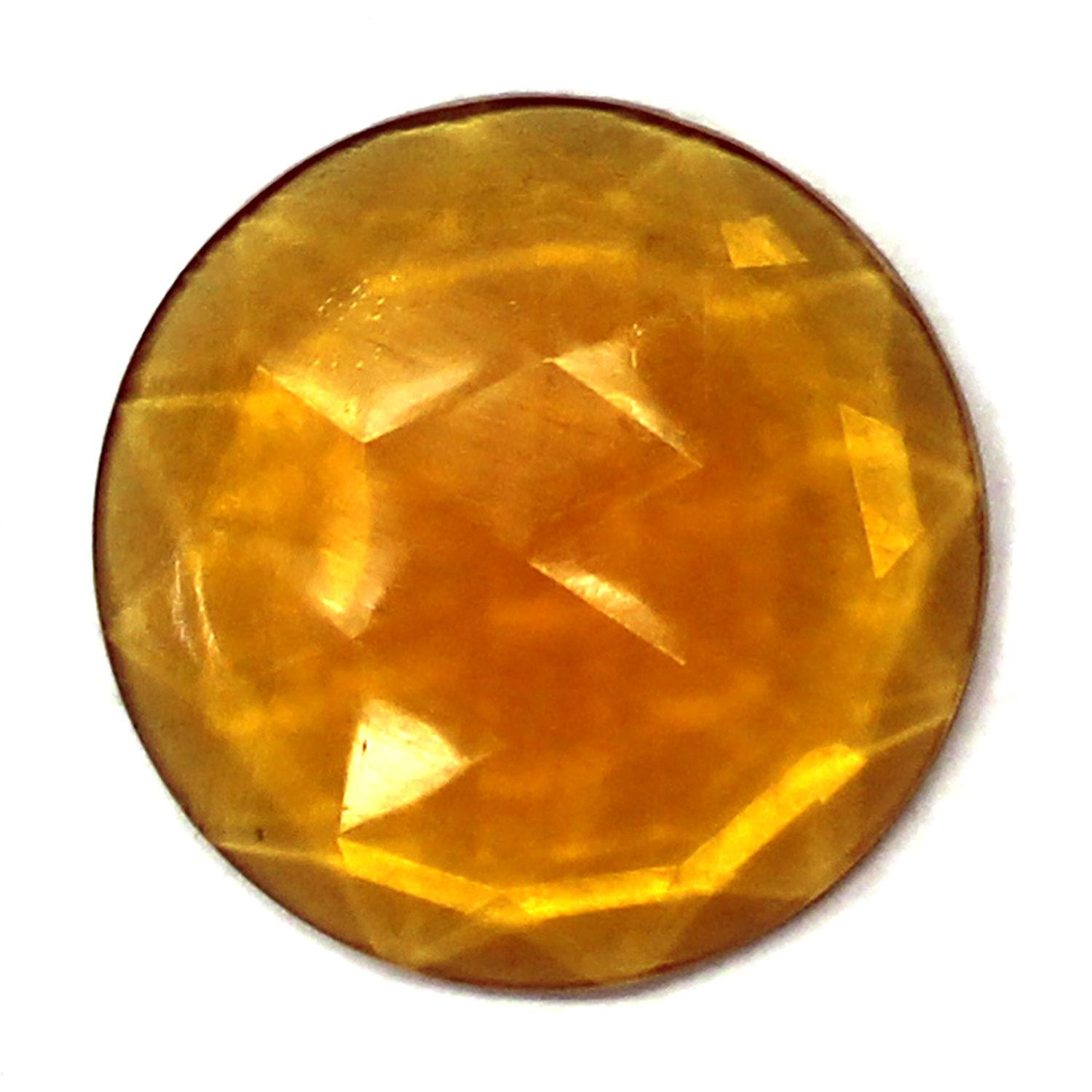 Light Amber Round 25mm Faceted Jewel
