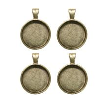 1 Round Silver Plated Deep Pendant Plates - 4 Pack