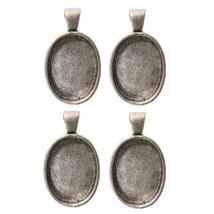 1 X 3/4 Oval Silver Plated Deep Pendant Plates - 4 Pack