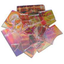 1/2 Lb Dichromagic Tie Dye Pattern Scrap On Clear - 96 Coe