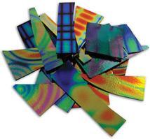 1/4 Lb Dichromagic Tie Dye Pattern Scrap On Black - 90 Coe