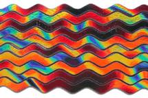 6mm Groovy Dichroic Waves On Black - 90 COE