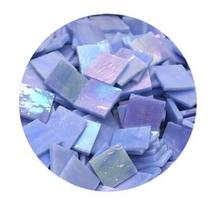 Blue Iridized Stained Glass Chips - 48 Pieces