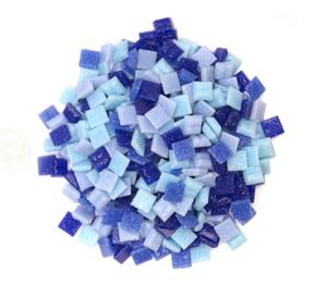 3/8 Glass Tile Denim Mix - 1/2 lb
