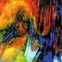 Uroboros Blue Yellow With Red, Orange, Green Granite