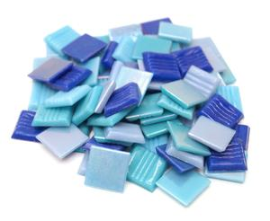 3/4 glass tile iridized blues mix - 1/2 lb