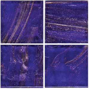 3/4 Cobalt Blue Gold Streaky Glass Tile - 1/2 Lb