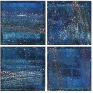 3/4 Royal Blue Gold Streaky Glass Tile - 1/2 Lb