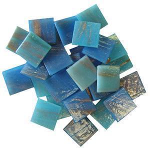 3/4 Glass Tile Gold Streaky Mediterranean Blue Mix - 1/2 Lb