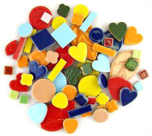 Assorted Ceramic Deco Tiles - 1 lb