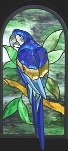 Blue Colored Parrot Bevel Cluster