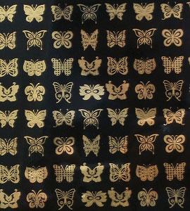 Glass Accents Butterflies Gold Decal
