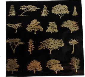Glass Accents Trees Gold Decal