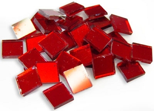 1/2 Red Mirror Tiles - 30 Pieces