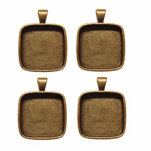 1 Square Copper Plated Deep Pendant Plates - 4 Pack