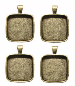 1 Square Silver Plated Deep Pendant Plates - 4 Pack
