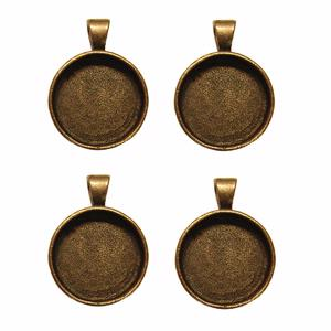 1 Round Copper Plated Deep Pendant Plates - 4 Pack