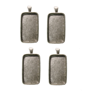 1-1/2 x 3/4 Rectangle Silver Plated Deep Pendant Plates - 4 Pack