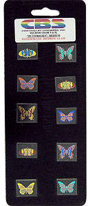 10 Medium Technicolor Dichroic Butterflies - 96 COE