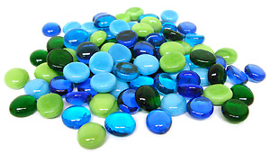 Blues and Greens Assortment Pebbles - 96 COE