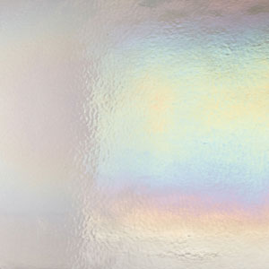 Bullseye Light Silver Gray Rainbow Iridized Double Rolled - 90 COE
