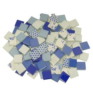 3/4 Singing the Blues Patchwork Glass Tile Assortment - 1 lb