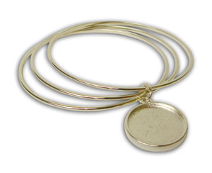 Bangle Bracelets With Double Sided Cabochon Charm