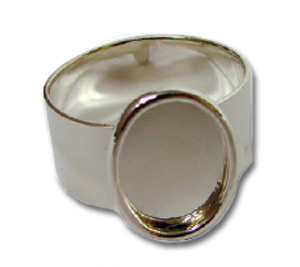 Small Silver Plated Oval Cabochon Ring