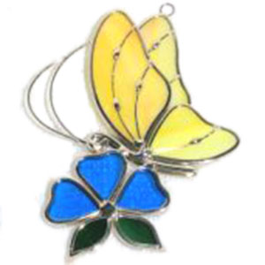 Yellow Butterfly And Blue Flower Suncatcher