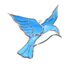 http://www.plentyofpatterns.com :: Bluebirds Stained Glass Pattern