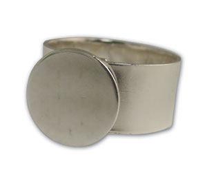 Sterling Silver Plated Round Disk Ring