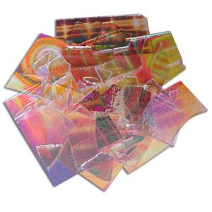 1/2 Lb DichroMagic Tie Dye Pattern Dichroic Scrap On Clear - 96 COE