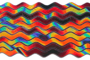 6mm Groovy Dichroic Waves On Black - 96 COE