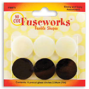 Fuseworks Ebony And Ivory Pre-Cut Circles - 90 COE