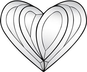 Modern Heart Bevel Cluster