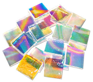 20 Piece Clear Pattern Rainbow Dichroic Chips - 90 COE
