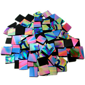 1/4 Lb Black Pattern Rainbow Dichroic Chips - 96 Coe