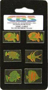 6 Large Technicolor Dichroic Fish - 90 COE