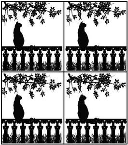 Window Cat Black Enamel Decals - 4 Pack
